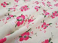 Лен Лютик розовый ткань для пошива одежды