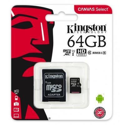 Карта памяти Kingston 64GB microSDXC class 10