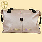 Женская дорожная сумка искусственная кожа пудра, фото 2