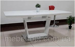 Обеденный стол Aurora (Аврора) белый глянец со стеклом 140-180х85х76 см, стиль модерн