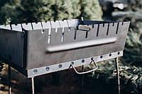 Мангал-чемодан на 10 шампуров. 2 мм. разборной, складной, переносной,компактный для шашлыка и гриля