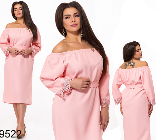 Женское платье миди с открытыми плечами (розовый) 829522