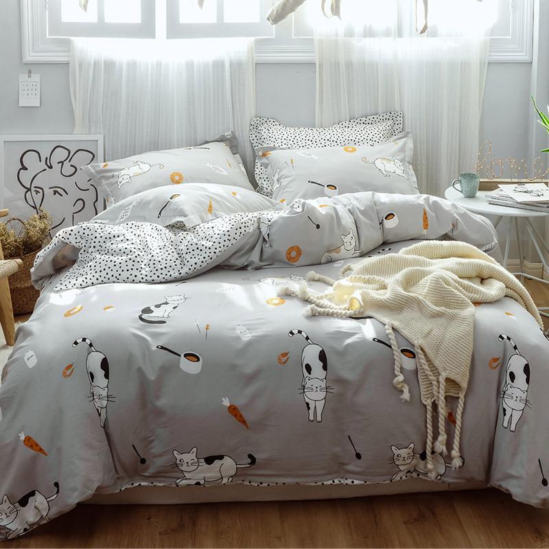 Комплект постельного белья Японские котики (двуспальный-евро) Berni
