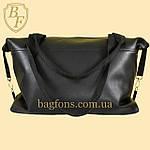 Женская дорожная сумка искусственная кожа черная, фото 2