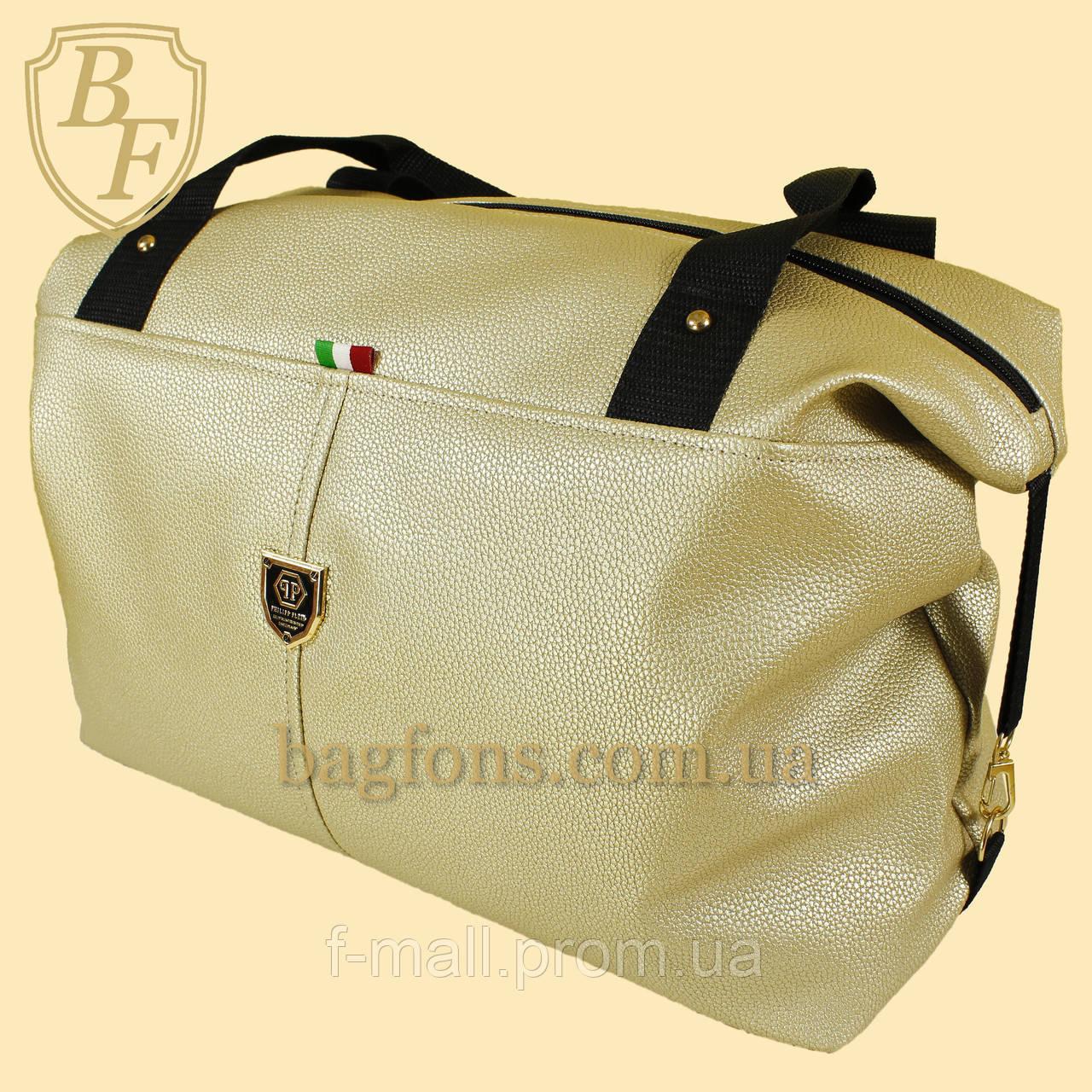Женская дорожная сумка искусственная кожа золотистая