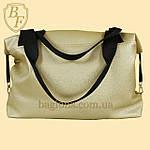Женская дорожная спортивная сумка искусственная кожа золотистая, фото 3