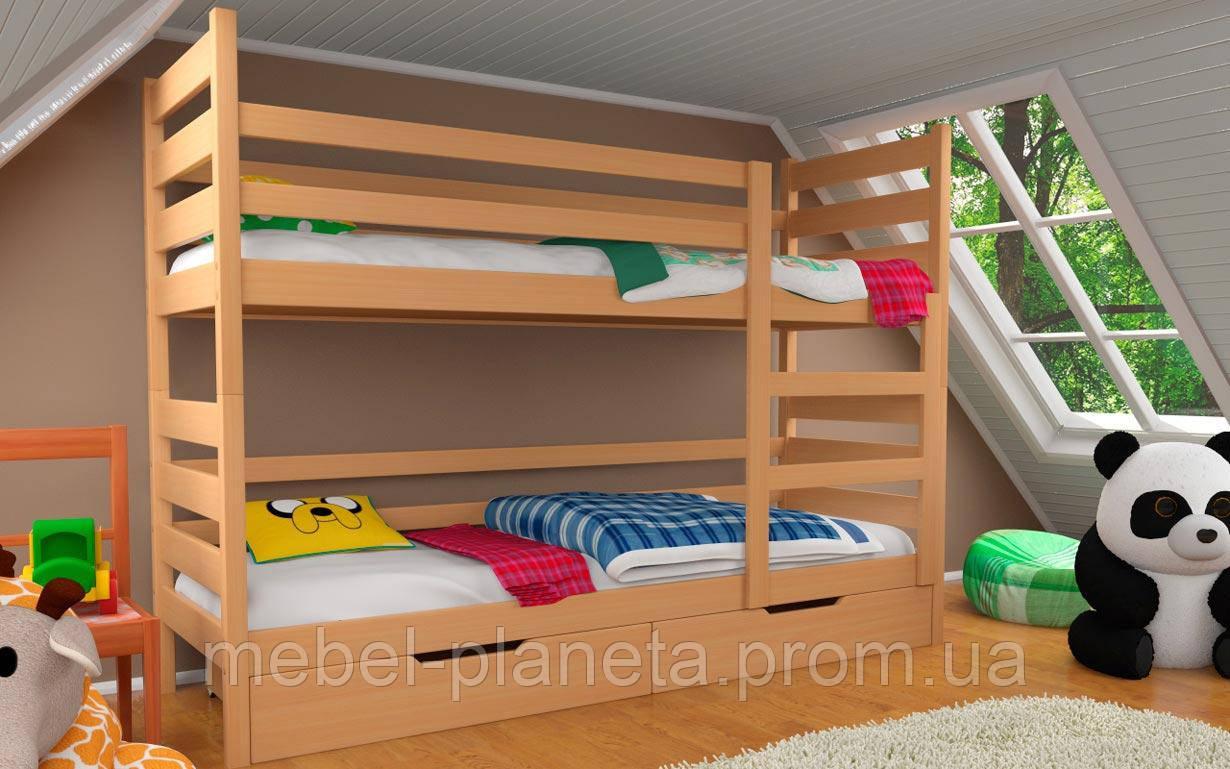 """Двох'ярусне ліжко з дерева """"Амелі"""" (Місяць)"""