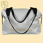 Женская дорожная сумка искусственная кожа серебристая, фото 2