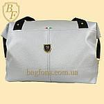 Женская дорожная сумка искусственная кожа серебристая, фото 4