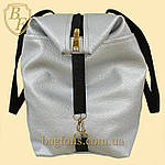 Женская дорожная сумка искусственная кожа серебристая, фото 3