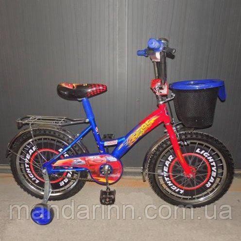 "Детский велосипед Mustang Тачки - Cars 14"" - синий"