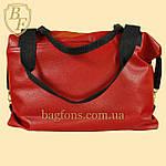 Женская дорожная сумка искусственная кожа красная, фото 2