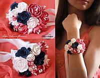 """""""Стильный микс"""" браслет с цветами на руку."""