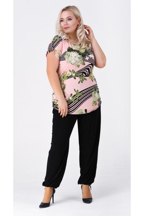 Костюм с брюками линии+цветы №10