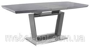 Обеденный стол Aurora (Аврора) серый глянец со стеклом 140-180х85х76 см, стиль модерн