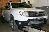 Декоративно-защитная сетка радиатора Renault Duster фальшрадиаторная решетка, бампер, фото 5