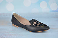 Турецкие женские кожаные туфли балетки Aquamarin