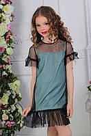 """Детское платье для девочки от 7 до 11 лет """"Фатин блестки"""",бирюзового цвета"""