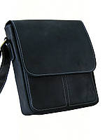 Мужская повседневная сумка GS кожаная черная с декоративной белой строчкой