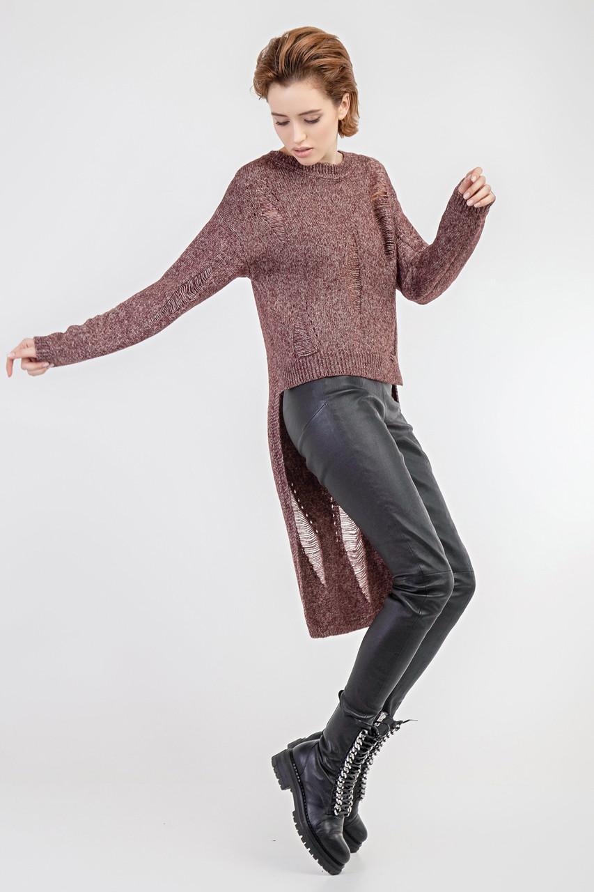 Стильный молодежный женский асимметричный вязаный джемпер с длинной спинкой
