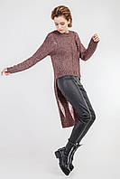 Стильный молодежный женский асимметричный вязаный джемпер с длинной спинкой , фото 1