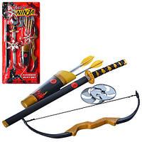 Набор ниндзя 709146 меч,лук,стрелы-присоски3шт,сюрикены2шт, на листе,27,5-59,5-5,5см