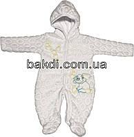 Детский тёплый человечек рост 56 (0-2 мес.) махра белый на мальчика/девочку (слип) с капюшоном для новорожденных Б-726
