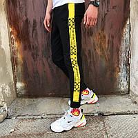 Спортивные мужские штаны в стиле Off White Line Temper черные c желтым