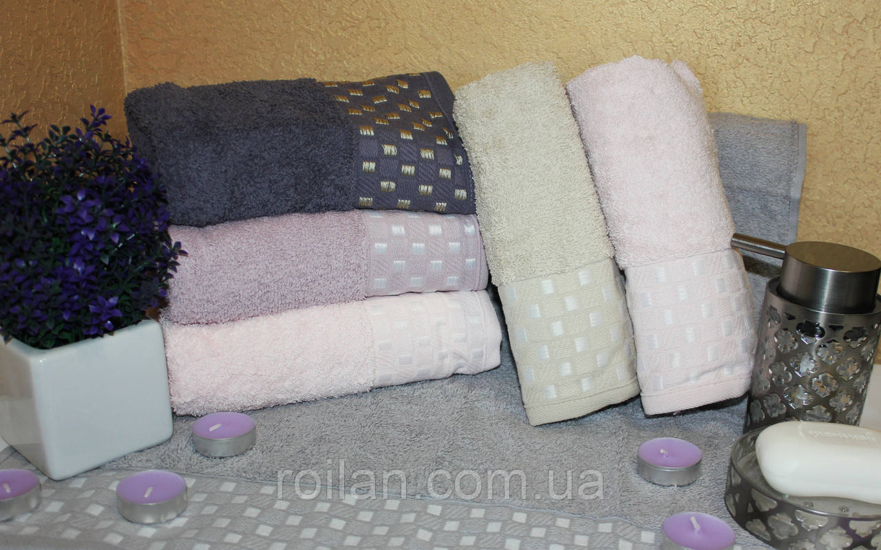 Банные турецкие полотенца Золотые квадратики
