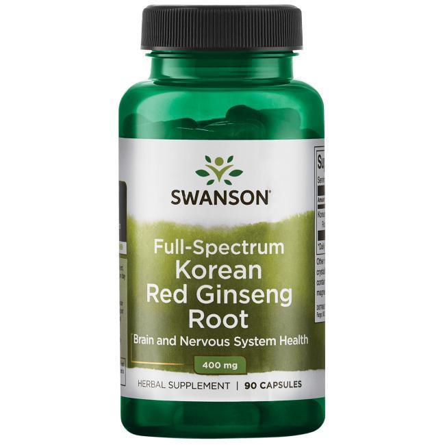 Swanson Premium Full-Spectrum Korean Red Ginseng Root женьшень корейский корень  400 мг 90 капс
