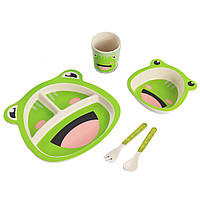 Детская бамбуковая посуда Лягушка, набор из 2-х тарелок, чашки, ложки и вилки BP9 Frog - 149781