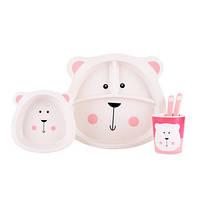 Детская бамбуковая посуда Мишка Умка, набор из 2-х тарелок, чашки, ложки и вилки BP10 Bear Umka - 149789