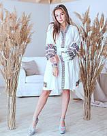 """Сукня на зхапах вишита білий льон """"Квіткова"""" розміри в наявності 48"""
