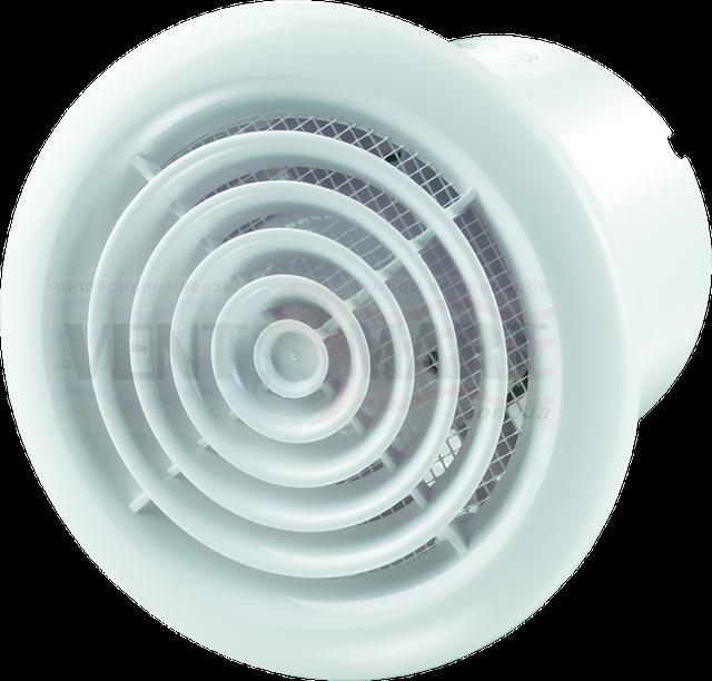 Дизайн (внешний вид, фото) бытового вытяжного вентилятора для потолочной вытяжки ВЕНТС ПФ1. Отличительной чертой Вентс ПФ1 100/125/150 является круглая лицевая панель (лицевая решётка круглой формы).