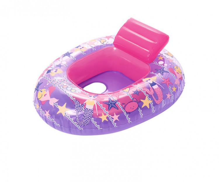 """Плотик надувной """"Кораблик"""" Bestway 34107 (Pink) со спинкой, 6-18 месяцев, 76 * 65 см, ремкомплект, розовый"""