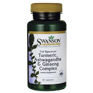 Full Spectrum Turmeric, Ashwagandha & Ginseng Complex, 60 капсул
