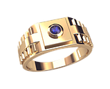 Золотое мужское кольцо Ролекс с одним камнем, фото 2