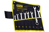 Набор рожково-накидных ключей Сила - 8 шт. (8-19 мм) шарнирных с трещеткой в чехле