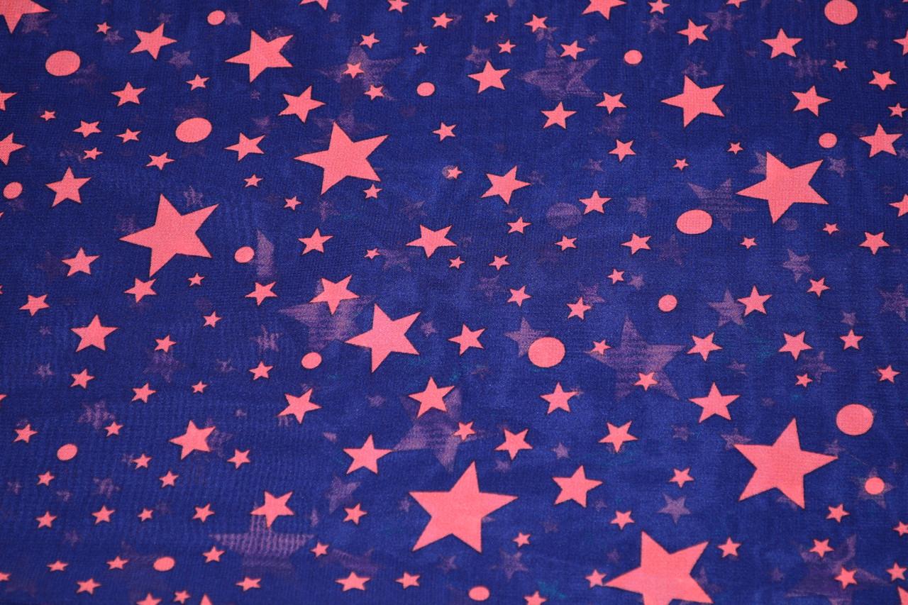 Креп шифон принт зірки
