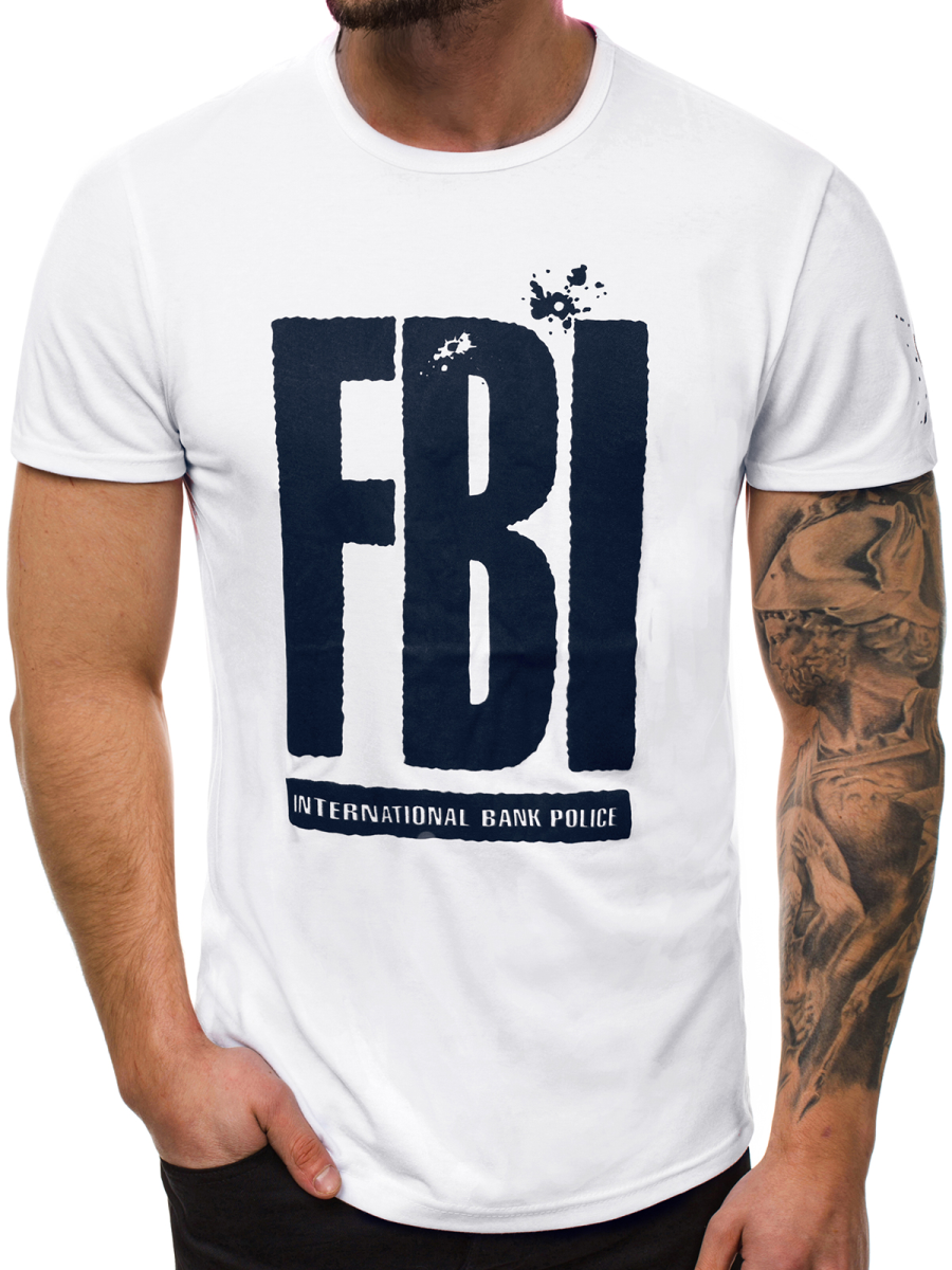 Мужская футболка J.Style FBI белая