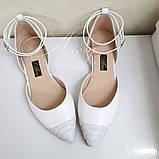 Женские свадебные белые балетки с вставкой из питона, фото 3