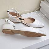 Женские свадебные белые балетки с вставкой из питона, фото 2