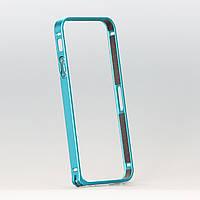 Бампер металлический для iphone 5/5s голубой