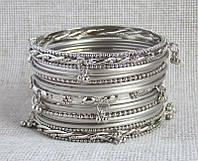 Индийские браслеты  с подвесками под серебро, фото 1