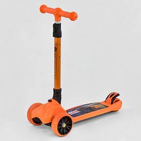 Самокат трехколесный Best Scooter F-16770 складной руль, колёса PU со светом, оранжевый