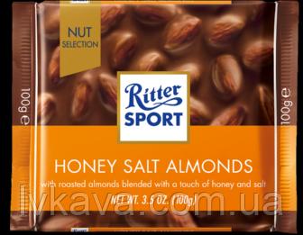 Молочный шоколад  Honig - Salz - Mandel Ritter Sport  , 100 гр