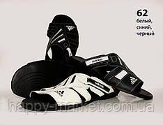 Кожаный шлёпок Adidas (реплика) (62) варианты цветов чёрный,синий и белый