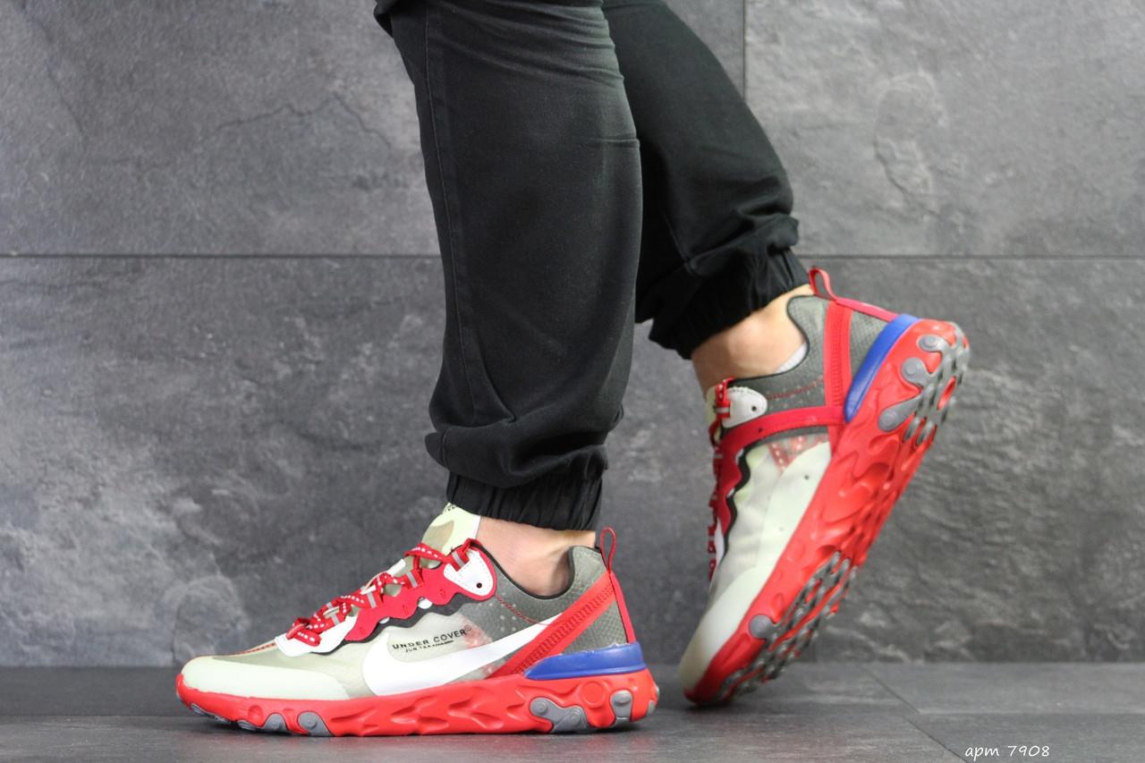 Мужские кроссовки Nike Undercover X Nike React Element 87,бежевые с красным