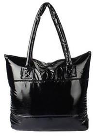 Стеганная глянцевая дутая Женская сумка, Стеганная глянсова дута Жіноча сумка, Средний размер середя