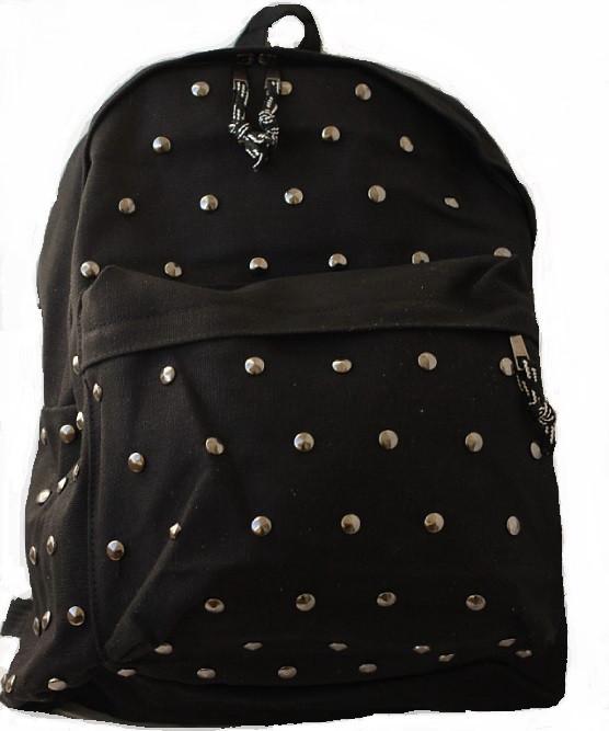 Городской Рюкзак с заклепками Черный, Молодежный, Для учебы, под ноутбук, СТИЛЬНЫЙ!